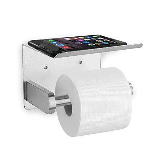 Yazoo Toilet Paper Holder Self Adhesive Toilet Roll Holder with Shelf Stainless Steel Anti Rust Wall Mount TP Holder with Phone Shelf for Bathroom, Brushed Nickel