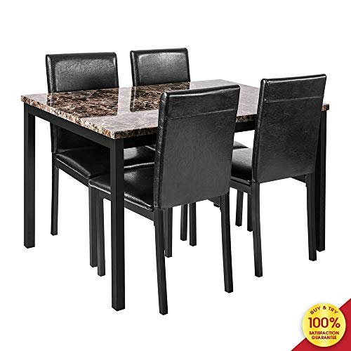 Hooseng 5 Piece Faux Marble Dining Set, Table and Chairs for 4, Perfect for Bar, Kitchen, Breakfast Nook, Living Room, Black