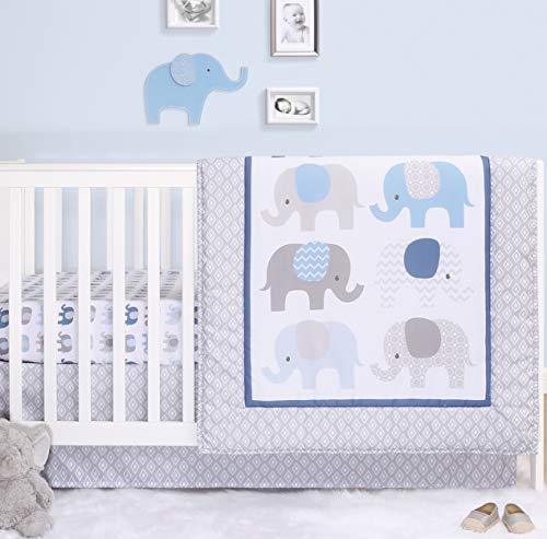The Peanutshell Elephant Crib Bedding Sets for Boys | 3 Piece Nursery Set | Crib Comforter, Fitted Crib Sheet, Crib Skirt Included