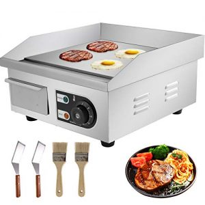 VEVOR 14inch Electric Countertop Flat Top Griddle 110V 1500W Non-Stick Commercial Restaurant Teppanyaki Grill Stainless Steel Adjustable Temperature Control 122°F-572°F, Sliver