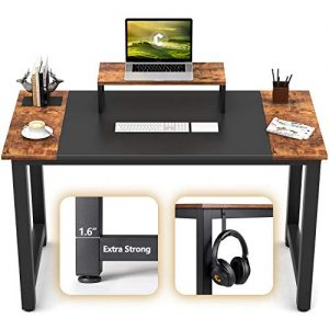 "CubiCubi Computer Office Small Desk 47"", Study Writing Table, Modern Simple Style PC Desk with Splice Board, Black and Rustic Brown"