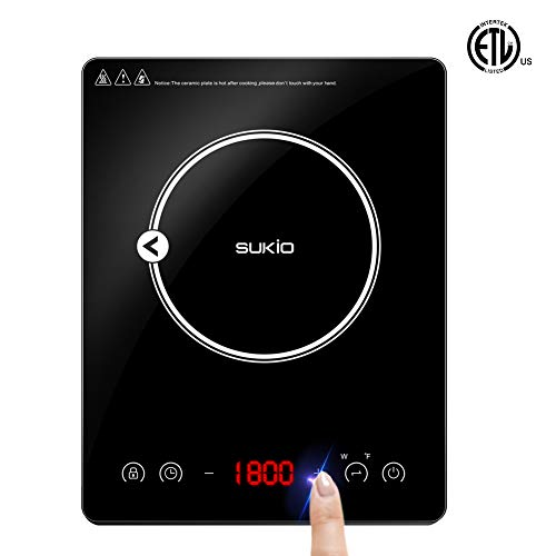 Portable Induction Cooktop induction stove Countertop Burner, 1800W 120-Volts Induction Cooker with Timer Temperature Control, Smart Touch Sensor Electric Ceramic Cooker Glass Plate Cooktop for Stainless Steel All Cookware