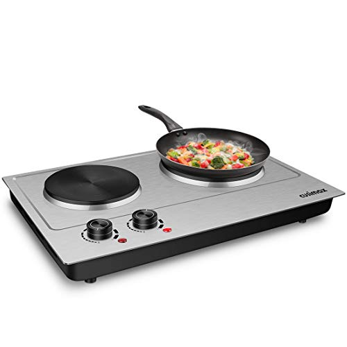 CUSIMAX 1800W Double Hot Plate, Stainless Steel Silver Countertop Burner Portable Electric Double Burners Electric Cast Iron Hot Plates Cooktop, Easy to Clean, CMHP-C180N