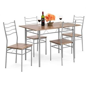 Best Choice Products 5-Piece Wooden Kitchen Table Dining Set w/Metal Legs, 4 Chairs