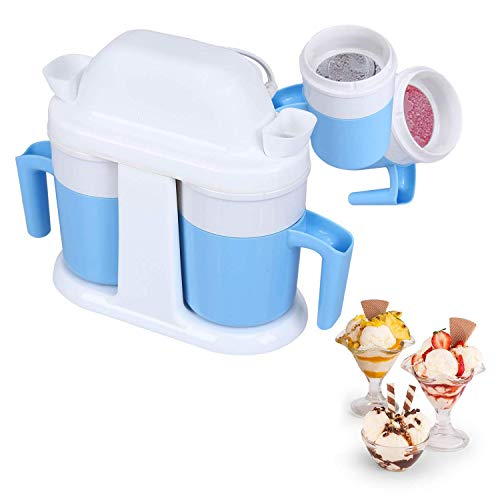 HoLead 1 Maker, Frozen Yogurt Timer Ice Cream Machine, Double cup/blue