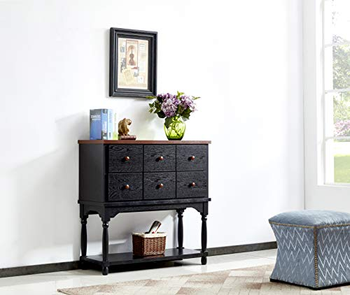 Mixcept Solid Wood Sideboard Buffet Server Cabinet Kitchen Dining Room Cupboard Console Table with 6 Drawers & 1 Shelf,Walnut +Black