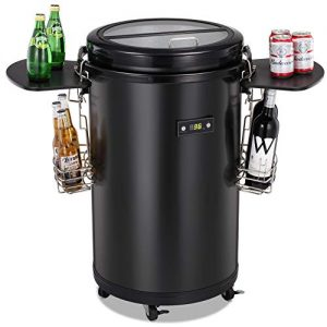 Joy Pebble Beverage Refrigerator and Cooler, 60 Can Indoor Outdoor Party Cooler Fridge with Wheels For Bar RV Party (Black)
