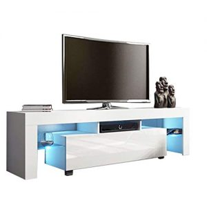 Modern White TV Stand with LED Lights, High Gloss TV Stand for 43/55/50/65 Inch TV LED TV Stand with Storage and 1 Drawers Living Room Furniture (White)