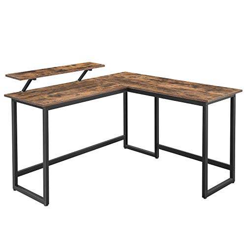VASAGLE ALINRU Computer Desk, L-Shaped Corner Desk with Monitor Stand, Industrial Workstation for Home Office Study Writing and Gaming, Space Saving, Easy Assembly, Rustic Brown and Black ULWD56X