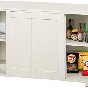 YAHEETECH Antique White Kitchen Storage Sideboard, Stackable Cabinets with Adjustable Shelf Sliding Door Dining Room Buffet Cupboard
