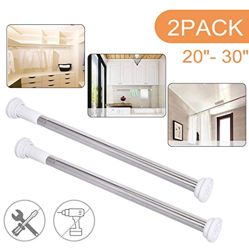 """Ginbel Direct 2 Pack Tension Curtain Shower Curtain Rod Round Adjustable Extendable 20""""-30"""" for Bathroom Room Closet No Drilling"""