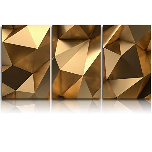 Vandarllin 3 Piece Canvas WallArtOilPainting Luxury Gold 3D Geometric, MordenArtworkPicture Prints Abstract Polygonal Background, FramedReadytoHang forLiving Room Office Bedroom 12x16inchx3