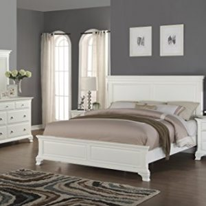 Roundhill Furniture Laveno 012 White Wood Bedroom Furniture Set, Includes Queen Bed, Dresser, Mirror and 2 Night Stands
