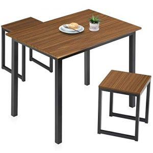 HOMURY Modern Wood 3 Piece Dining Set Studio Collection Soho Dining Table with Two Stools Home Kitchen Breakfast Table, Brown