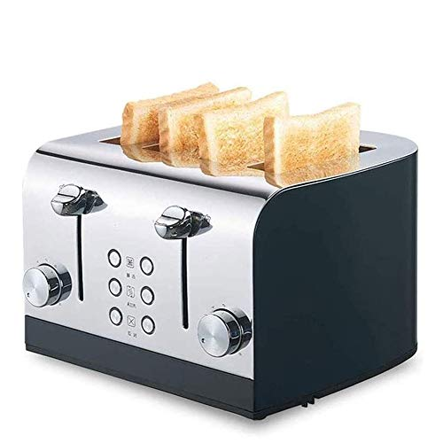 FYLY-Toaster 4 Slice, Pop-Up Wide Slots Stainless Steel Toaster, with 7 Temperature Settings and Reheat Defrost Cancel Function, for Bread, English Muffins, Bagels,Black