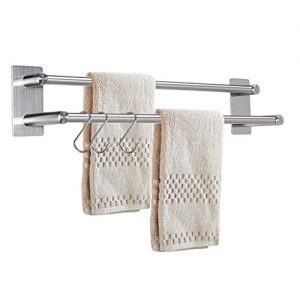 Sumnacon 21.4 Inch 2 Bars Self Adhesive Towel Bar Racks - Stainless Steel Bath Towel Holder Organizer with 3 Hooks, Contemporary Style Brushed Finish Towel Bar Holder for Bathroom Kitchen Bedroom