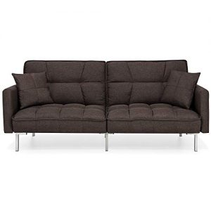 Best Choice Products Convertible Linen Splitback Futon Sofa Couch, Living Room Furniture w/Tufted Fabric, Pillows - Brown