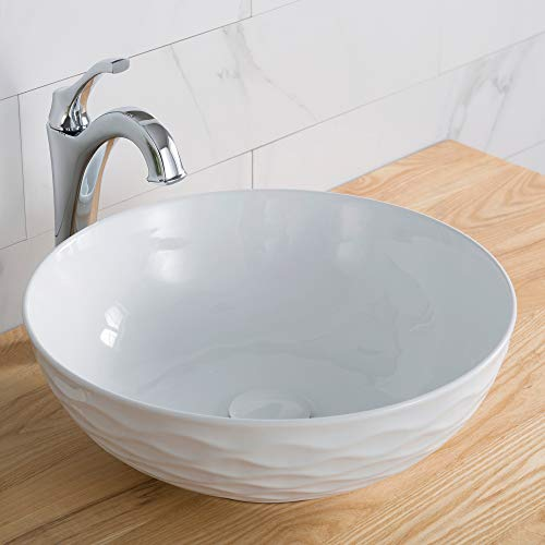 Kraus KCV-200GWH Ceramic Above counter Round Bathroom Sink, 16.5 x 16.5 x 5.5 inches, White