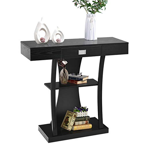 Giantex Console Table, Sofa Table with Drawer and 2-Tier Shelves, Wood Accent Table for Entryway, Hallway and Living Room (Black)