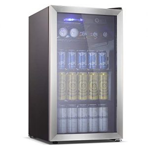 Antarctic Star Beverage Refrigerator Cooler - 100 Can Mini Fridge Glass Door for Soda Beer or Wine – Smoked Glass Door Small Drink Dispenser Machine for Home, Office or Bar, 3.2cu.ft.