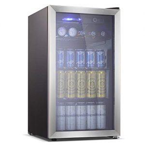 Antarctic Star Beverage Refrigerator Cooler - 100 Can Mini Fridge Glass Door for Soda Beer or Wine – Smoked Glass Door Small Drink Dispenser Machine for Home, Office or Bar, 3.2cu.ft.