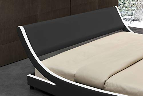 Amolife Modern Full Platform Bed Frame with Adjustable Headboard Amolife Modern Full Platform Bed Frame with Adjustable Headboard,Mattress Foundation Deluxe Solid Faux Leather Bed Frame with Wood Slat Support (Black with White Border, Full).