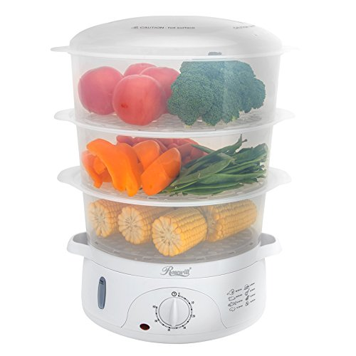 """Rosewill BPA-Free, Quart (9L), 3-Tier Stackable Baskets Electric Timer Food, 2.20""""x9.25""""x15.63"""", 9.5 qt Steamer"""