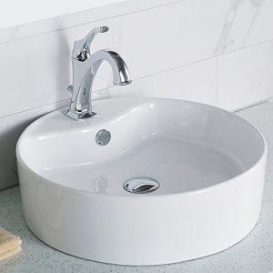 KRAUS KCV-142 Elavo Round Vessel Porcelain Ceramic Bathroom Sink 18 Inch in White with Overflow