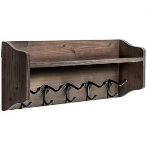 Coat Hooks with Shelf Wall-Mounted, Rustic Wood Entryway Shelf with 5 Vintage Metal Hooks, Farmhouse Mounted Coat Rack and Upper Shelf for Storage, Perfect for Your Entryway, Kitchen, Bathroom