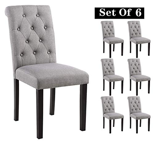 Homy Grigio Aristocratic Style Dining Chair Noble and Elegant Solid Wood Tufted Dining Chair Dining Room Chair (Set of 6 Gray)