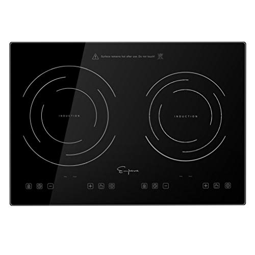 Empava IDC12B2 Horizontal Electric Stove Induction Cooktop with 2 Burners in Black Vitro Ceramic Smooth Surface Glass 120V, 12 Inch