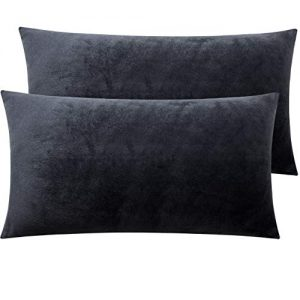 NTBAY Zippered Velvet King Pillowcases, 2 Pack Super Soft and Cozy Luxury Solid Color Pillow Cases, 20 x 36 Inches, Charcoal Grey