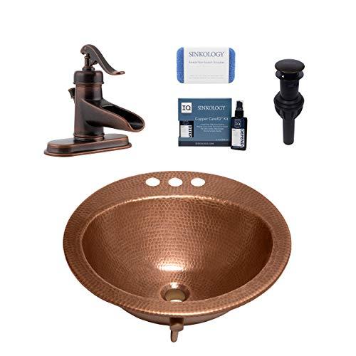 Sinkology SB101-19AC-F042-AMZ Bell Drop Bath Sink Pfister Ashfield Faucet and Drain Bathroom All-in-One Kit, Antique Copper