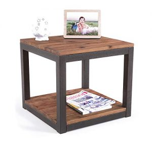 Care Royal Vintage Industrial Farmhouse 19.7 inches Side End Table with Storage Shelf for Living Room, Night Stand Bedroom, Real Natural Reclaimed Wood, Sturdy Rustic Brown Metal Frame, Easy Assembly