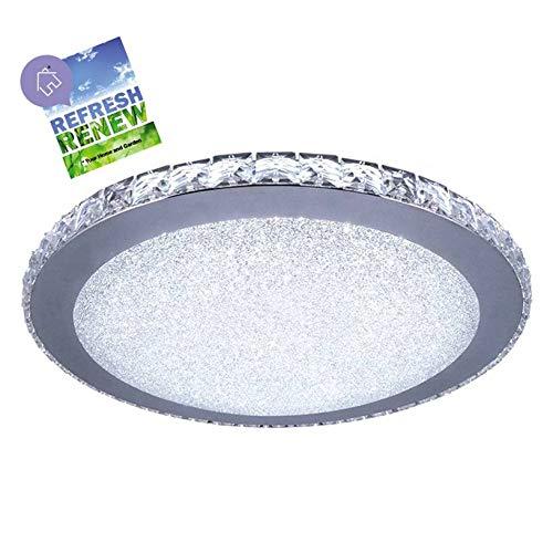 iLett 18 Watts Modern Minimalist K9 Crystal Tears Round LED Ceiling Light, Russian Style, 14 in, 6000K (Cool White), Compact, Multi-Voltage (85V-265V)