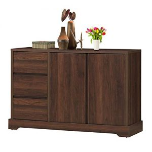 "Giantex Buffet Sideboard, Storage Console Table with 3 Drawers and 2-Door Cabinets, Buffet Server Cupboard for Kitchen, Dining Room, Living Room, Entryway, Walnut (46.5""LX 15.5""WX 30.5""H)"