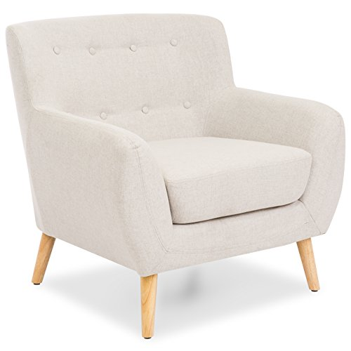 Best Choice Products Mid-Century Modern Linen Upholstered Button Tufted Accent Chair - Light Gray