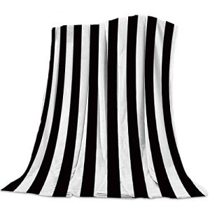 "Seven Roses Luxury Throw Blanket for Couch/Office/Bedroom Luxury Throw Blanket for Couch/Office/Bedroom Black and White Horizontal Stripes 39""x 49""=100125CM"