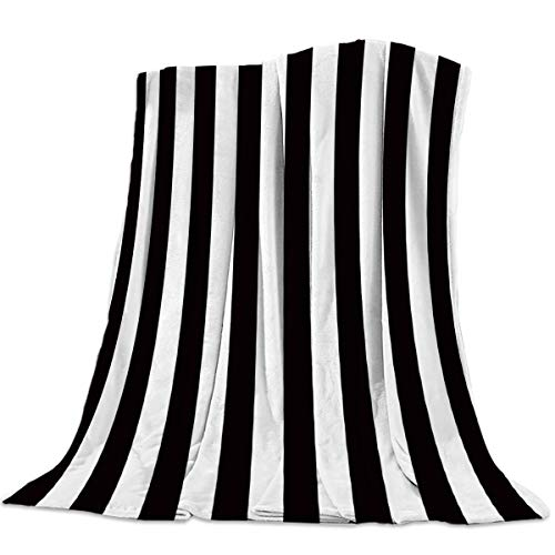 """Seven Roses Luxury Throw Blanket for Couch/Office/Bedroom Luxury Throw Blanket for Couch/Office/Bedroom Black and White Horizontal Stripes 39""""x 49""""=100125CM"""
