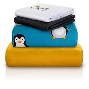 "Chital Twin Bed Sheet Set | 4 Pc Penguin Themed Kids Bedding Set | Arctic Animal Collection | Durable Super-Soft, Double-Brushed Microfiber | 1 Flat, 1 Fitted Sheet & 2 Pillow Cases | 15"" Deep"