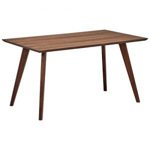 "Amazon Brand – Rivet Mid-Century Modern Minimalist Dining Kitchen Table, 53.1""L, Walnut Wood"