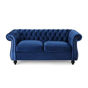 Christopher Knight Home 306027 Karen Traditional Chesterfield Loveseat Sofa, Navy Blue and Dark Brown, 61.75 x 33.75 x 27.75