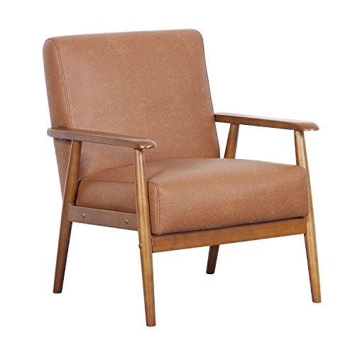 """Pulaski DS-D030003-329 Wood Frame Faux Leather Accent Chair, 25.38"""" x 28.0"""" x 30.5"""", Cognac Brown"""