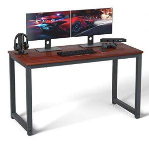 "Coleshome Computer Desk 55"" Modern Sturdy Office Desk Study Writing Desk for Home Office,Teak"