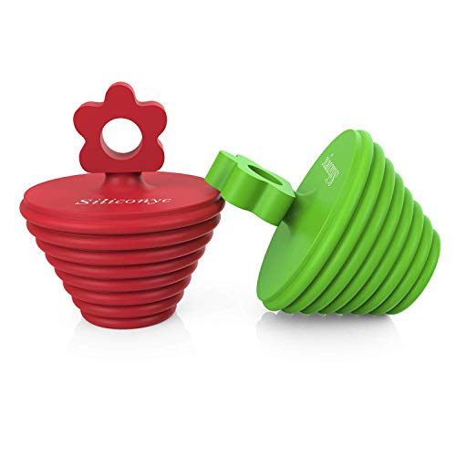Silyconyc Tub Stopper for Bathtub | Universal Bathroom Sink Drain Plug Bath Stopper 2 Pack - Silicone (Green and Red)
