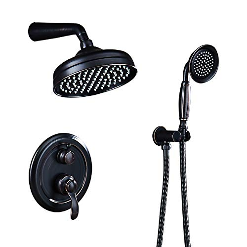 AUKTOPT Rainfall Shower Head System with Handshower Bathroom Luxury Rain Mixer Combo Set, Oil Rubbed Bronze(Contain Faucet Rough-in Valve), B