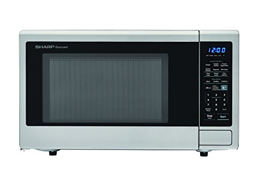 SHARP Carousel 1.4 Cu. Ft. 1000W Countertop Microwave Oven with Orville Redenbacher's Popcorn Preset (ISTA 6 Packaging), Cubic Foot, 1000 Watts, Stainless Steel