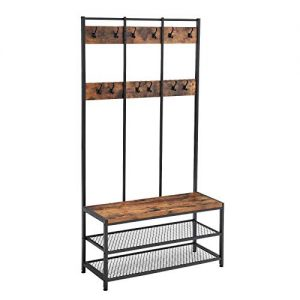 VASAGLE Industrial Coat Rack Shoe Bench, Hall Tree Entryway Storage Shelf, Large Size, Wood Look Accent Furniture with Metal Frame, Easy Assembly UHSR86BX