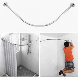 "Tanxih Corner Shower Curtain Rod Adjustable 304 Stainless Steel Stretchable L Shaped Rack Drill Free Install for Bathroom, Bathtub, Clothing Store, Private Space (35.5""-51.2"" x 35.5""-51.2"")"