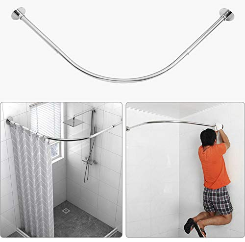 """Tanxih Corner Shower Curtain Rod Adjustable 304 Stainless Steel Stretchable L Shaped Rack Drill Free Install for Bathroom, Bathtub, Clothing Store, Private Space (35.5""""-51.2"""" x 35.5""""-51.2"""")"""